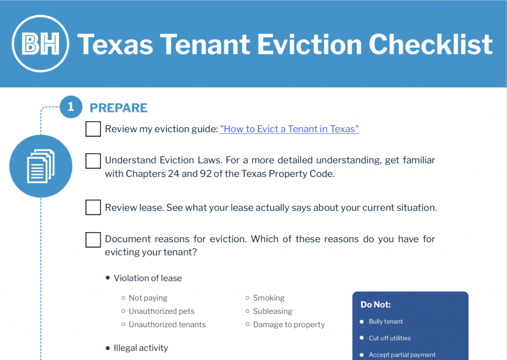 Texas tenant eviction checklist